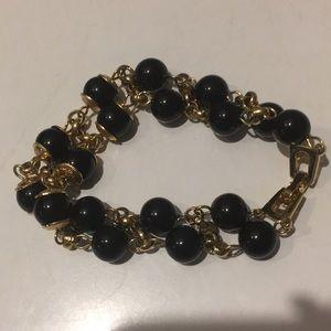 Vintage black beads gold tone bracelet